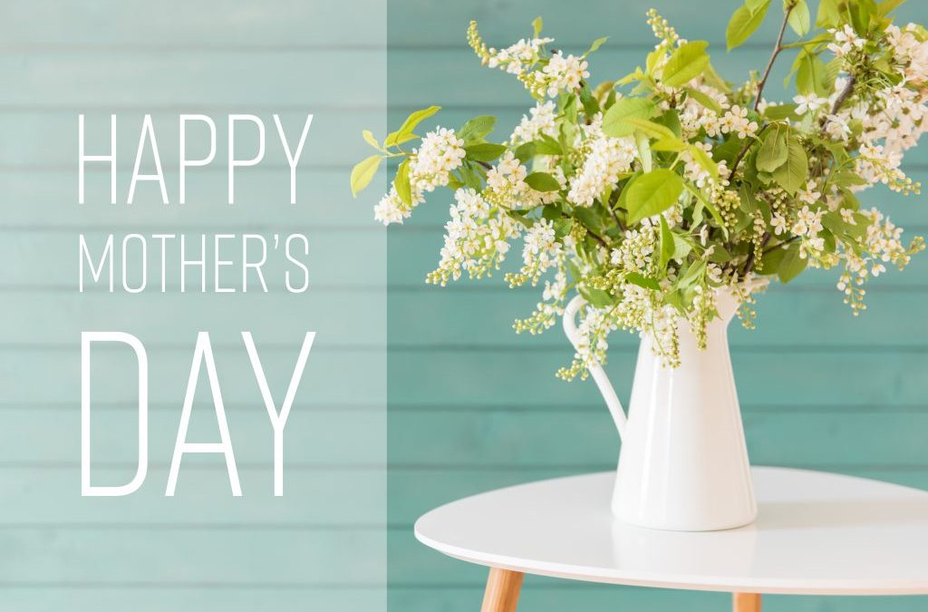 Bouquet of white May flowers to giveaway while wishing Happy Mother's Day
