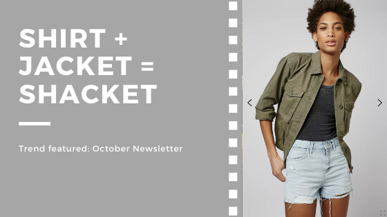 Photo of a shacket - a shirt plus a jacket. Trend featured in my October 2019 author newsletter.