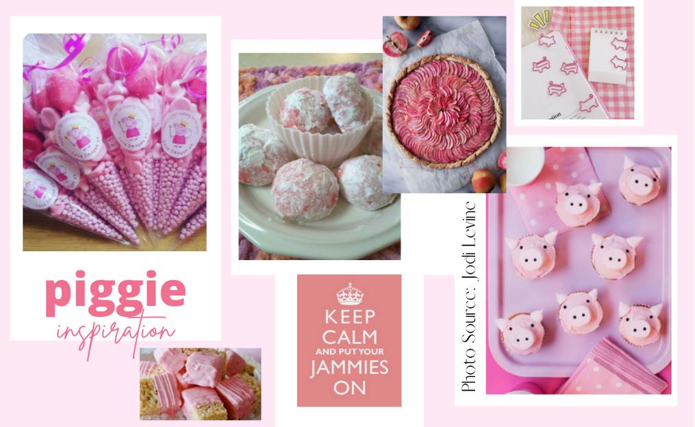 Idea board showing pink piggie themed ideas
