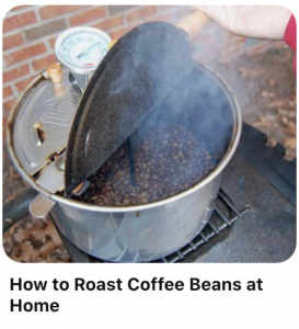 Image of someone roasting coffee beans using a popcorn popper